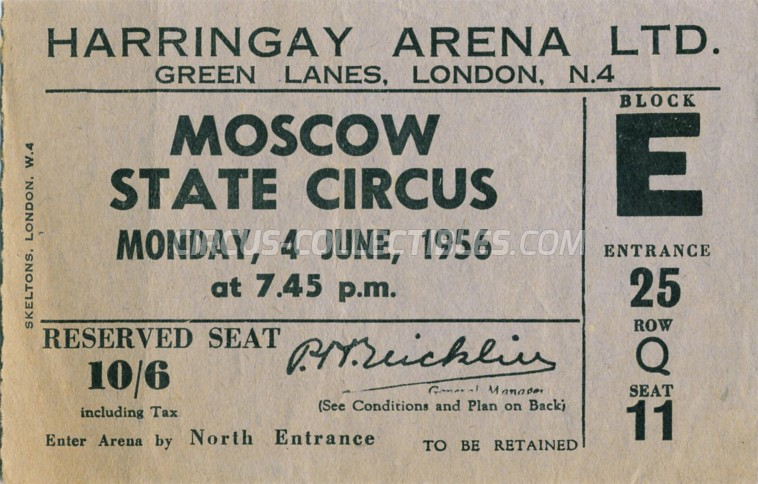 Moscow State Circus  Circus Ticket/Flyer - England 1956