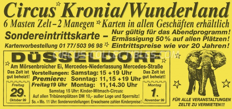 Kronia Circus Ticket/Flyer - Germany 1999
