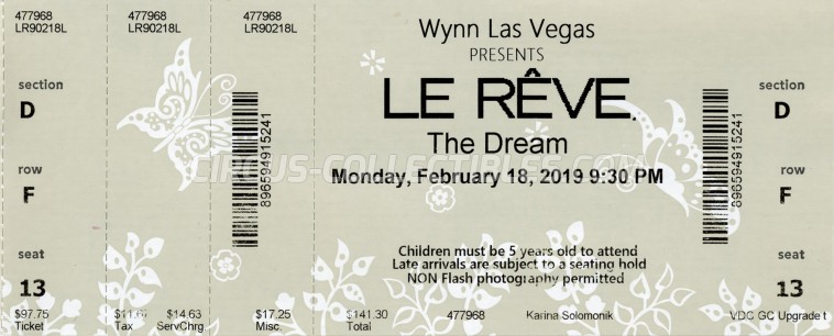 Le Rêve (The Dream) Circus Ticket/Flyer - USA 2019