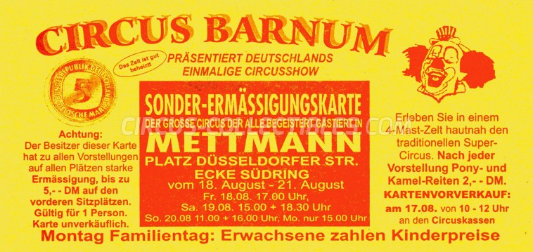 Barnum Circus Ticket/Flyer - Germany 1995