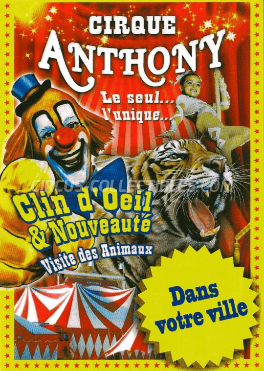 Anthony Circus Ticket/Flyer -  2016