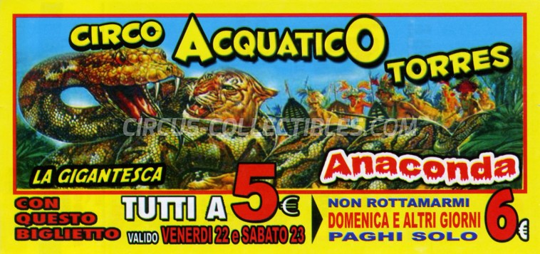 Acquatico Torres Circus Ticket/Flyer - Italy 2019