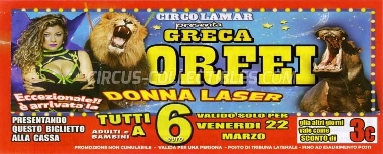 Greca Orfei Circus Ticket/Flyer - Italy 2019