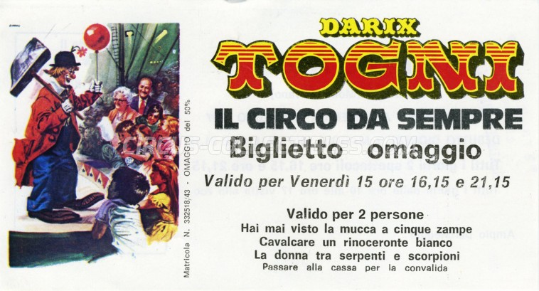 Darix Togni Circus Ticket/Flyer - Italy 1987