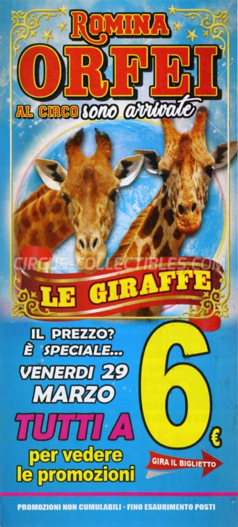 Romina Orfei Circus Ticket/Flyer - Italy 2019