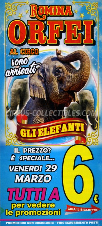 Romina Orfei Circus Ticket/Flyer - Italy 2019
