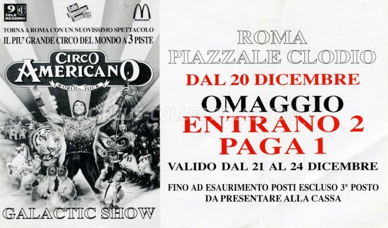 American Circus Circus Ticket/Flyer - Italy 1997