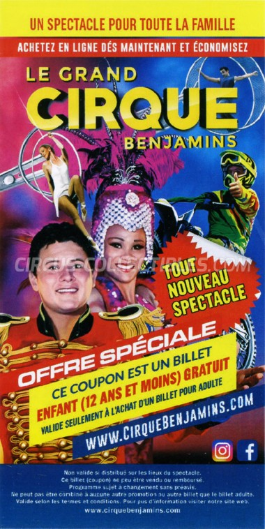 The Great Benjamins Circus Circus Ticket/Flyer - Canada 2019