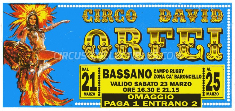 David Orfei Circus Ticket/Flyer - Italy 0