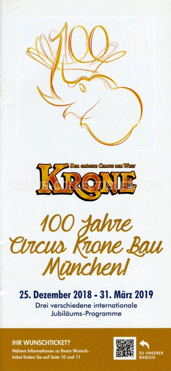 Krone Circus Ticket/Flyer -  2018
