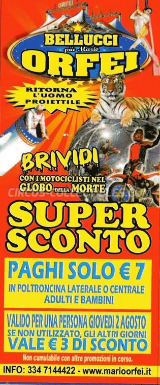 Bellucci Circus Ticket/Flyer -  2012