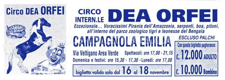Dea Orfei Circus Ticket/Flyer - Italy 0