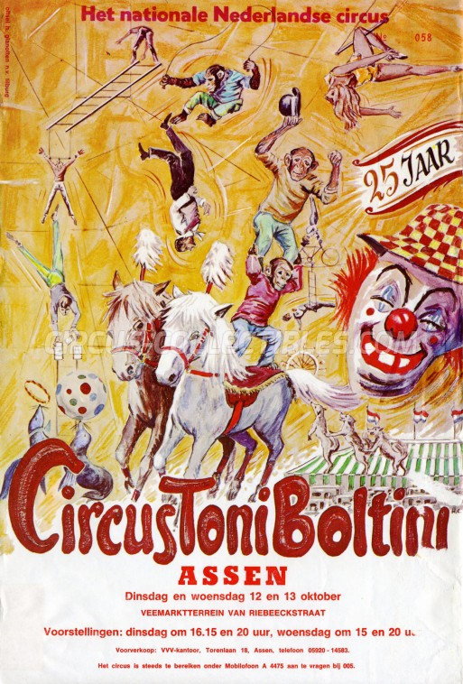 Toni Boltini Circus Ticket/Flyer - Netherlands 1971