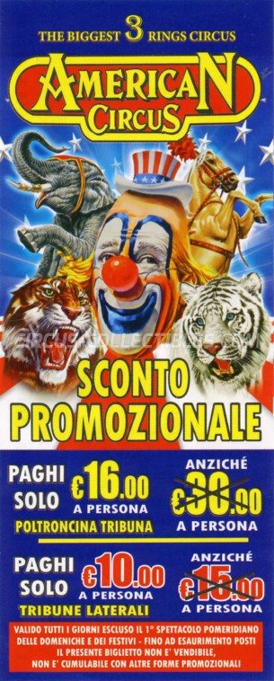 American Circus Circus Ticket/Flyer - Italy 2015