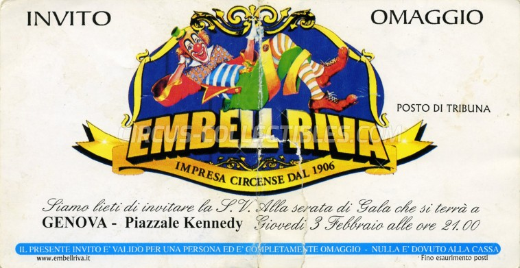 Embell Riva Circus Ticket/Flyer - Italy 2005