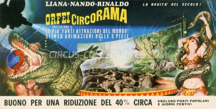 Nando, Liana, Rinaldo Orfei Circus Ticket/Flyer -  0