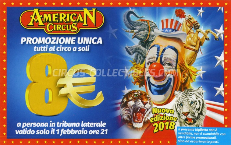 American Circus Circus Ticket/Flyer - Italy 2018