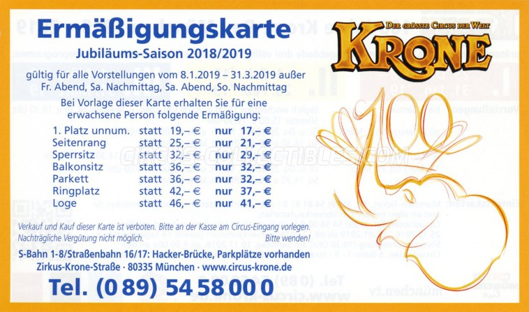 Krone Circus Ticket/Flyer - Germany 2019