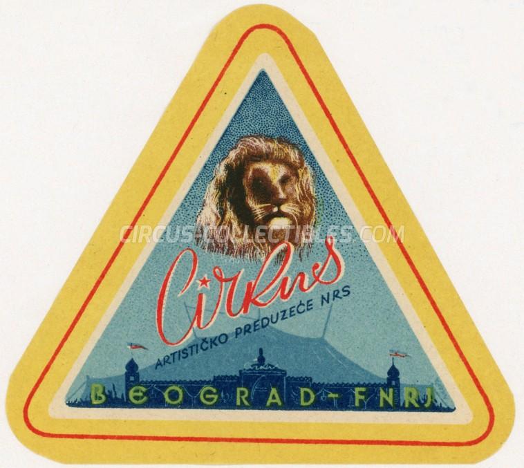 Cirkus - Artisticko preduzece NRS Circus Ticket/Flyer -  1948