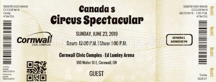 Canada's Circus Spectacular Circus Ticket/Flyer - Canada 2019