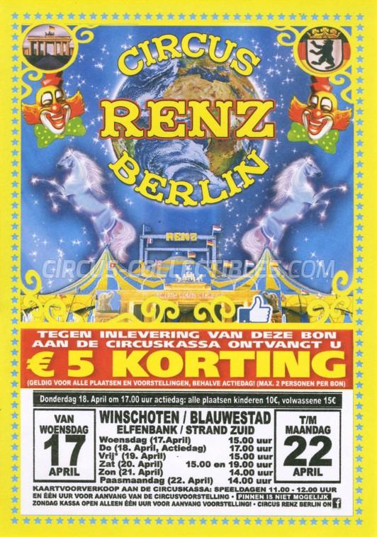 Renz Berlin Circus Ticket/Flyer - Netherlands 2019