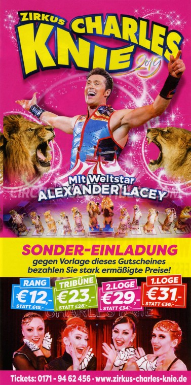 Charles Knie Circus Ticket/Flyer - Germany 2019