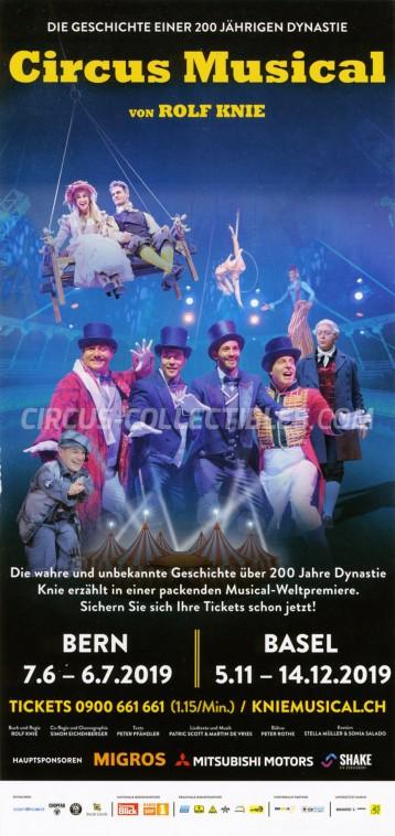 Knie - Das Circus Musical Circus Ticket/Flyer -  2019