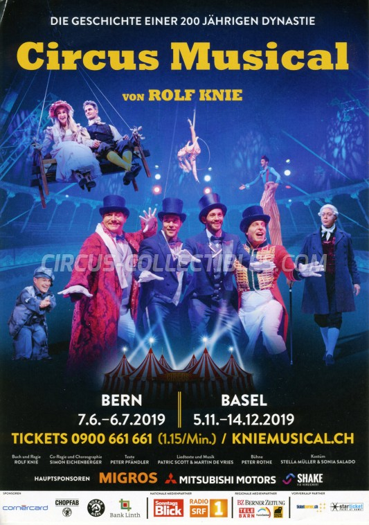 Knie - Das Circus Musical Circus Ticket/Flyer -  2019