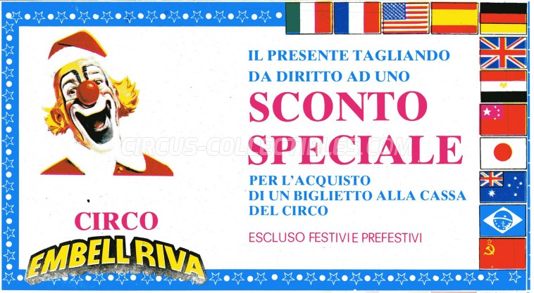 Embell Riva Circus Ticket/Flyer - Italy 1987