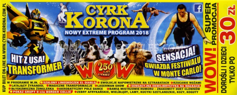 Korona Circus Ticket/Flyer - Poland 2018