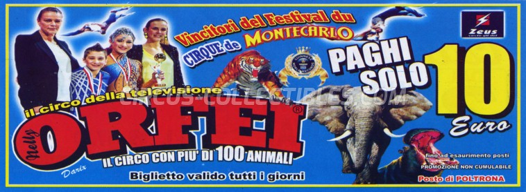 Orfei Circus Ticket/Flyer - Italy 2014