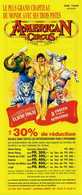 American Circus Circus Ticket/Flyer - Belgium 1994