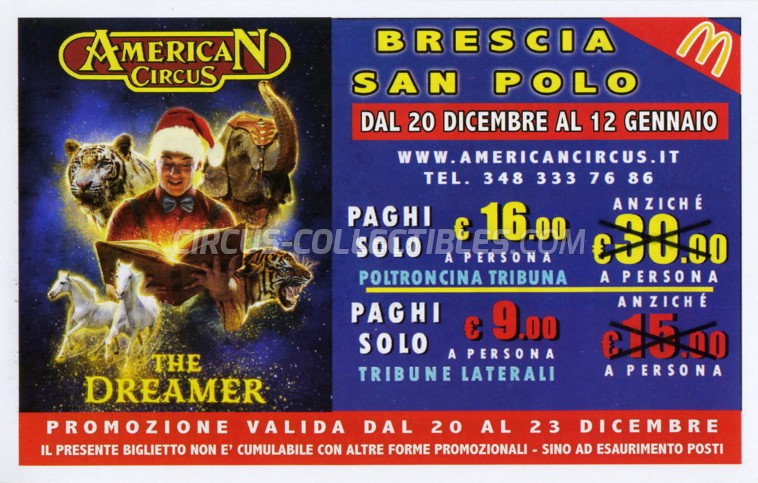 American Circus Circus Ticket/Flyer - Italy 2019