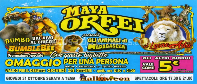 Maya Orfei Circus Ticket/Flyer - Italy 2019