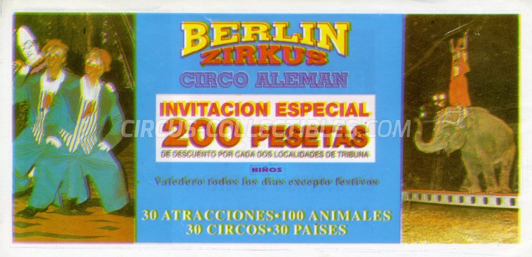Berlin Zirkus Circus Ticket/Flyer -  0