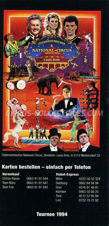 Louis Knie Circus Ticket/Flyer -  1994