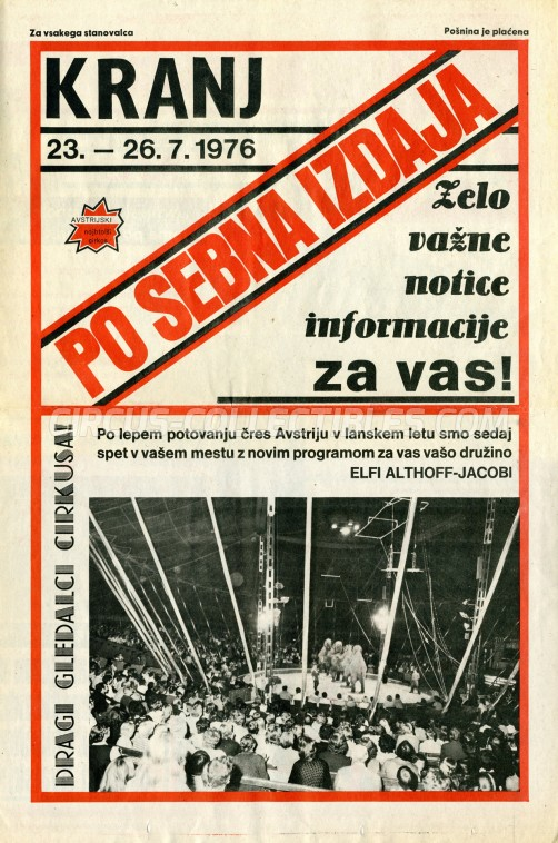 Elfi Althoff-Jacobi Circus Ticket/Flyer - Slovenia 1976