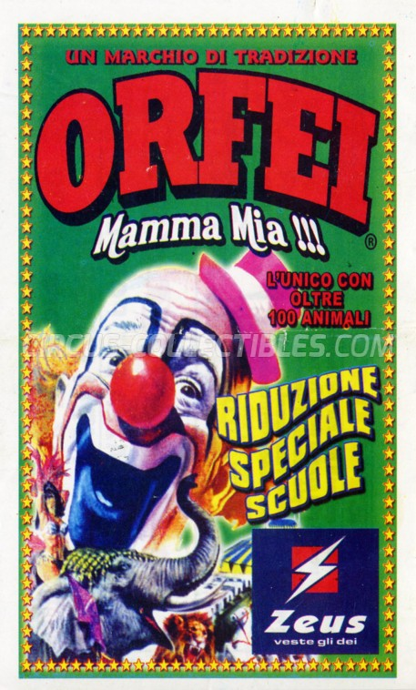 Orfei Circus Ticket/Flyer - Italy 2012