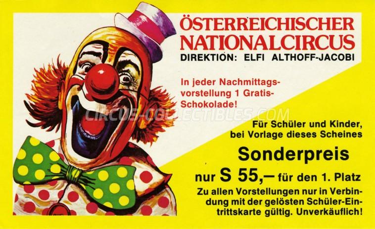 Elfi Althoff-Jacobi Circus Ticket/Flyer -  1984