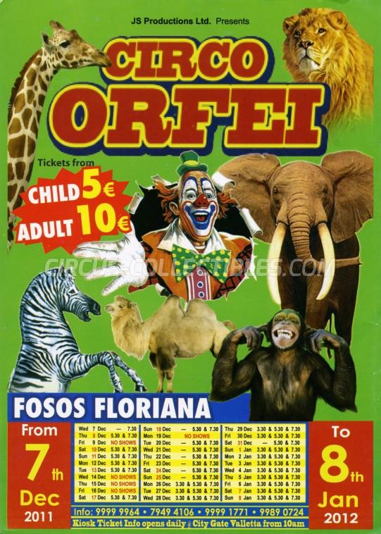 Orfei Circus Ticket/Flyer - Malta 2011