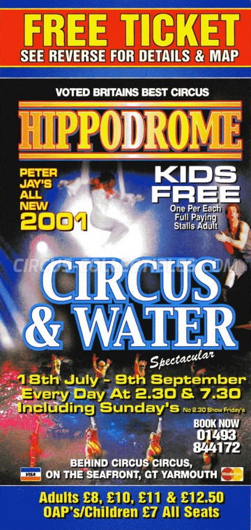 Hippodrome Circus Circus Ticket/Flyer -  2001