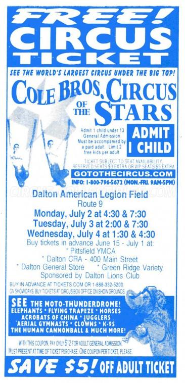 Cole Bros. Circus Circus Ticket/Flyer - USA 2012