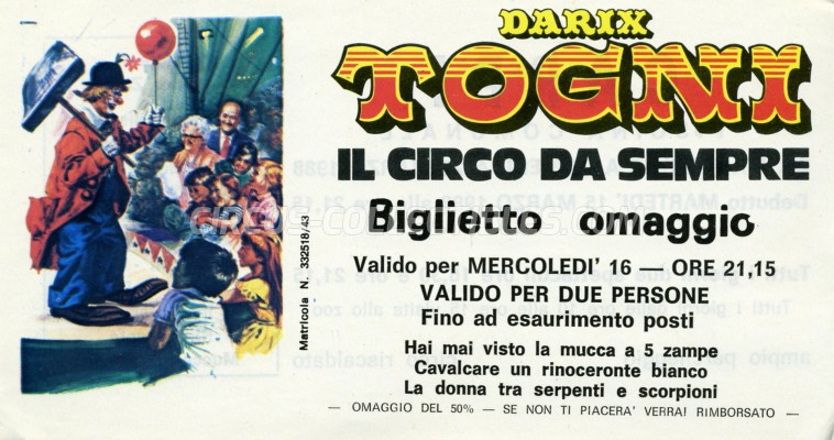 Darix Togni Circus Ticket/Flyer - Italy 1988