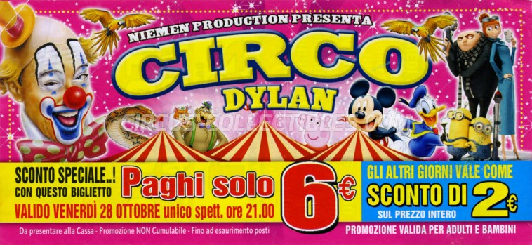 Dylan Circus Ticket/Flyer - Italy 2016