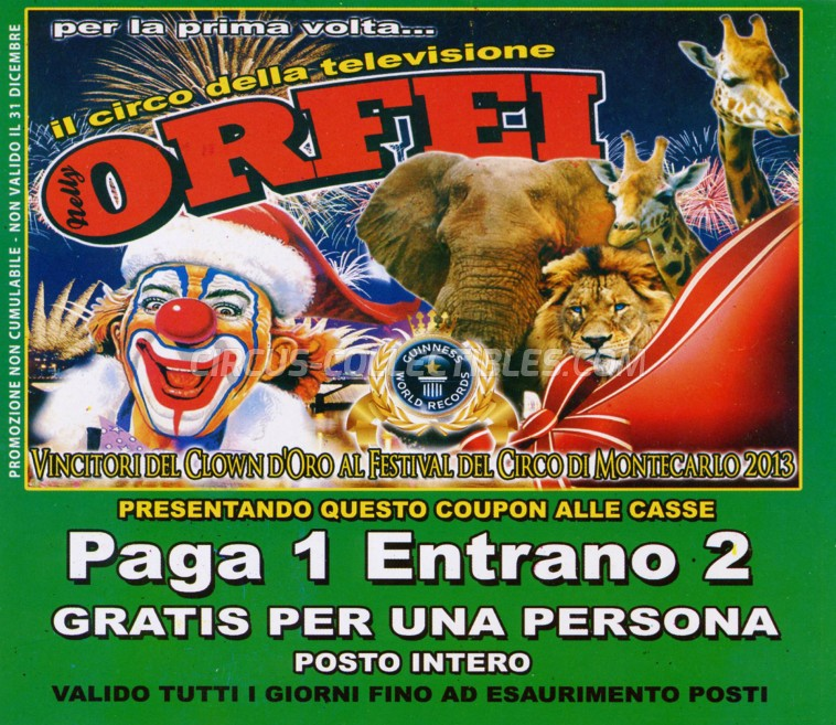 Nelly Orfei Circus Ticket/Flyer - Italy 2014