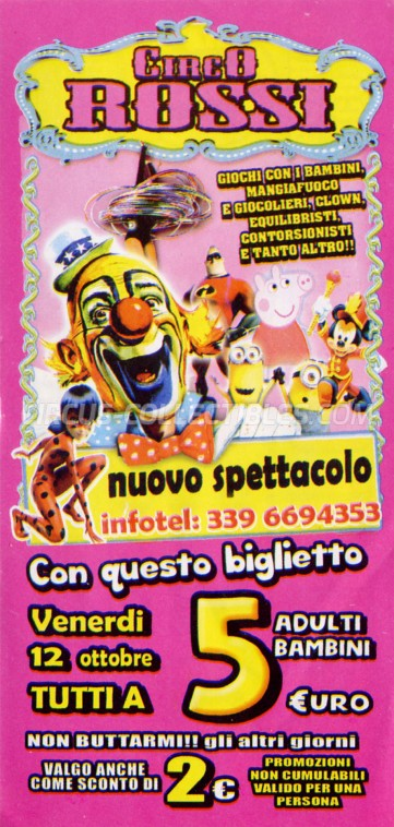 Rossi Circus Ticket/Flyer - Italy 2018