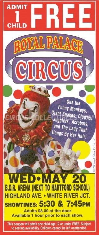 Royal Palace Circus Circus Ticket/Flyer - USA 1998