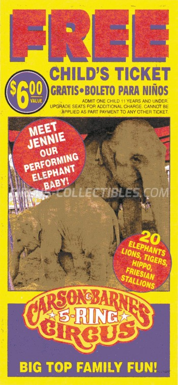Carson & Barnes Circus Circus Ticket/Flyer -  1999