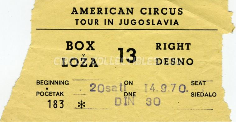 American Circus Circus Ticket/Flyer - Croatia 1970