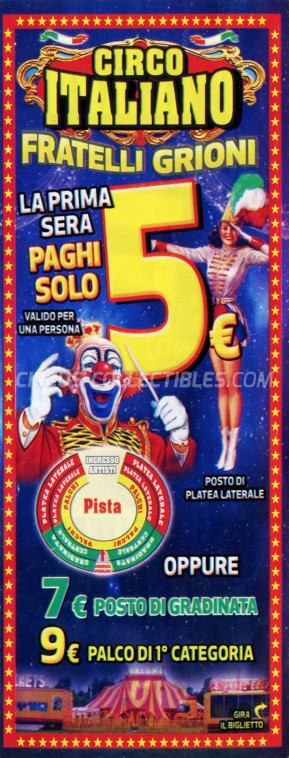 Grioni Circus Ticket/Flyer - Italy 2019